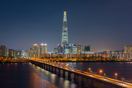 Seoul Subway and Seoul City Skyline, South korea 스톡 콘텐츠