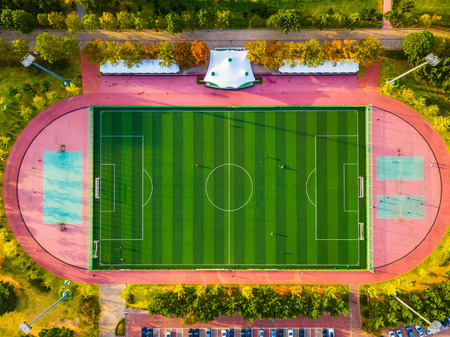 Aerial view of soccer field in South Korea Editorial