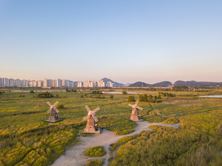 wooden windmill at Incheon Sohrae Ecological Park, South Korea