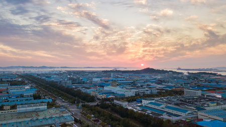Aerial view Sunset of the industrial park. incheon Seoul,Korea