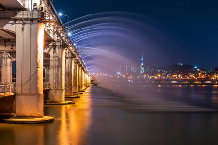 Banpo Bridge Rainbow Fountain in Seoul City,South Korea