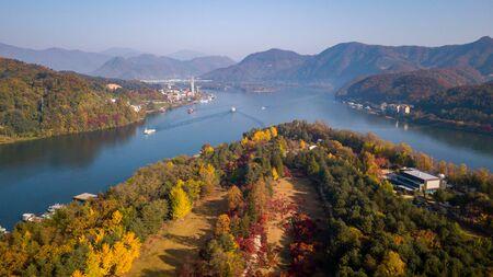 Aerial view Autumn of Nami island,Seoul Korea