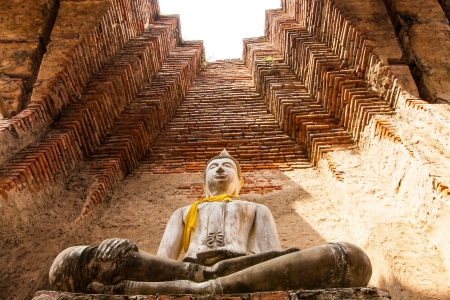 Buddha was created in the chimney in Ayutthaya in Thailand photo