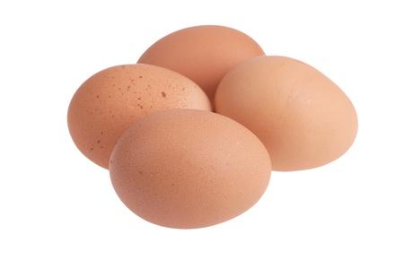 Eggs on a white background. 版權商用圖片