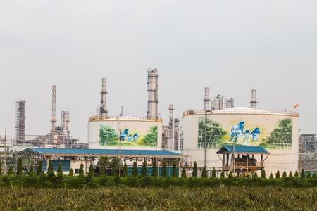 greenpeace: Oil refinery at twilight Bangkok Thailand Editorial