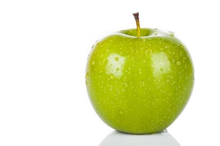 manzana: Apple sobre un fondo blanco.