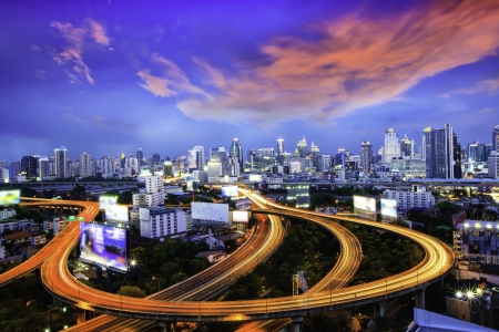 tollway: Bangkok city at night. Stock Photo