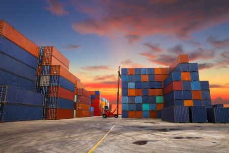 intermodal: Containers in the port of Laem Chabang in Thailand. Stock Photo