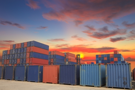 Containers in the port of Laem Chabang in Thailand. Stock Photo