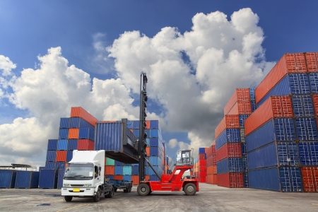 containerschip: Containers in de haven