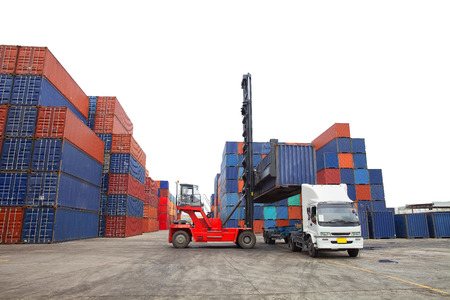 intermodal: Containers in the port of Laem Chabang in Thailand