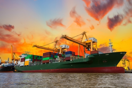 cargo container: Shipping port in Thailand.