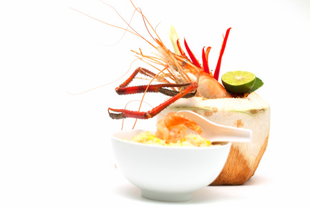 Shrimp in coconut soup. photo