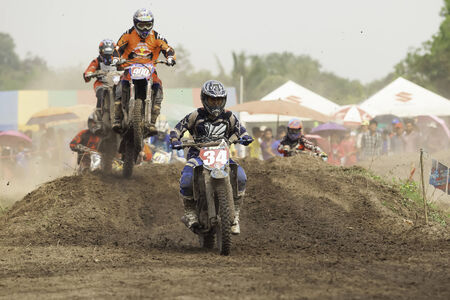 NAKHON NAYOK, THAILAND - MAR  15  the race motocross charity to make a temple, on March 15, 2014  Nakhon NayokThailand