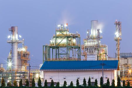 The crater of an oil refinery in the evening. Stock Photo