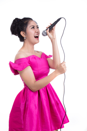 People are singing on a white background. Stock Photo
