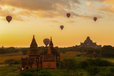 Fields Pagoda with balloons in the morning. Stock Photo