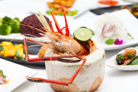 goong: tom yum goong food on the table for dinner. Stock Photo