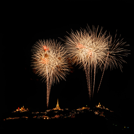Fireworks display on New Years Day. Stock Photo