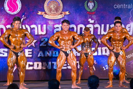 BANGKOK; THAILAND - SEPTEMBER 12-13 : bodybuilding championship Muscle and physiqye cibtest 2015 on September 12-13; 2015 in Bakgkok; Thailand; THAILAND - SEPTEMBER 12-13 : bodybuilding championship Muscle an; Editorial