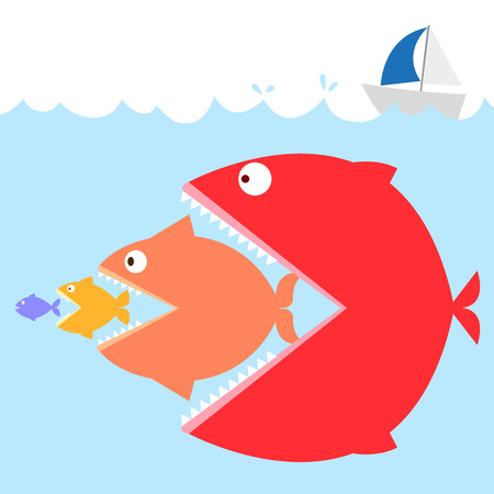 colorful of fishs in the sea in meaning : big fish eat small fish as food. Like a life in a society if who weak must be the prey of the strong.