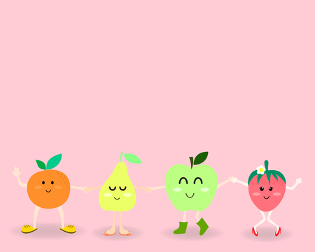 pal: oranges pear apple and strawberry in sweet cute cartoon style in the happy face emotion