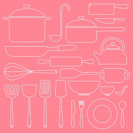 crock: kitchenware icon in white line in sweet pink background