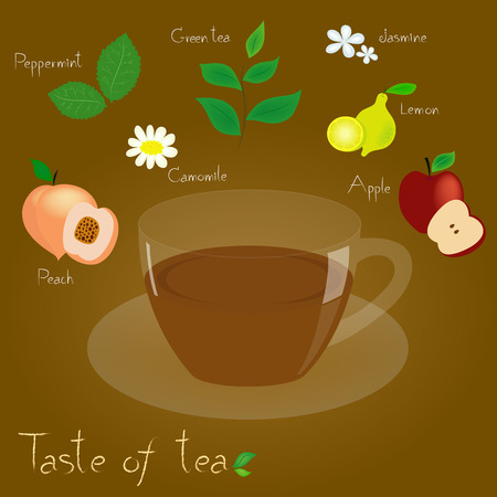 kind of tea in color pattern on a brown background Vector