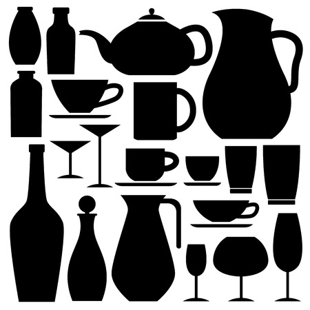 glassware icon in silhouettes can be used for info graphics graphic or website Vector