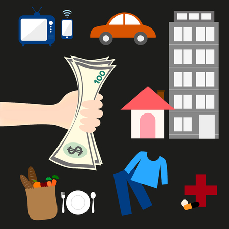 earn money: The personnel works hard to earn money to spend on everyday necessities such as housing, vehicles, clothing, food, medicines and appliances. Illustration
