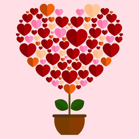 The growth of love in the heart shape with the design in multi-colored of trees in pots look lovely for valentine day.
