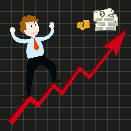 fling: Businessmen are happy with the graph shows that more and more profits. Illustration