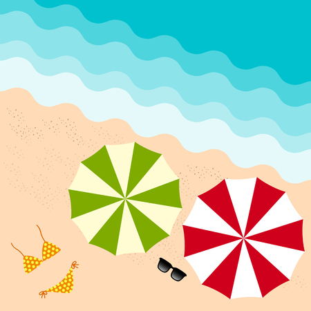 colorful umbrella, sun glass and bikini on the beach in summer holiday from top view Vector