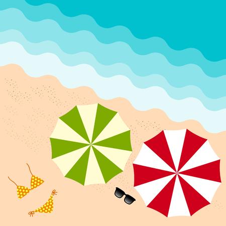 sun glass: paraguas de colores, vidrio de sol y un bikini en la playa de vacaciones de verano de la visi�n superior