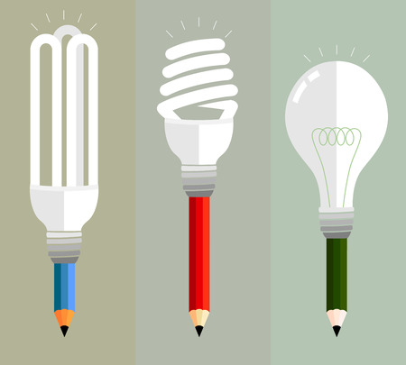 variety: Colored pencils on a variety of creative expression. Using multiple bulbs represent a variety of ideas.