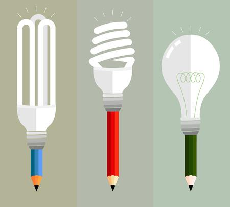 Lápices de colores sobre una variedad de expresión creativa. Uso de múltiples bombillas representan una variedad de ideas. Foto de archivo - 39372504