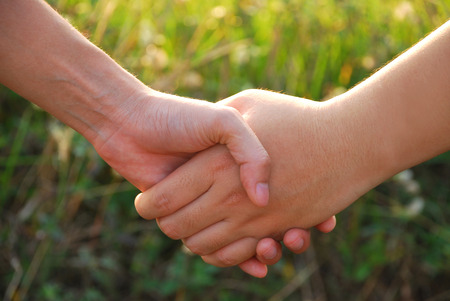 expressed: Hands of two young women expressed great friendship together by holding hands in the evening sunshine on blurred grass background.