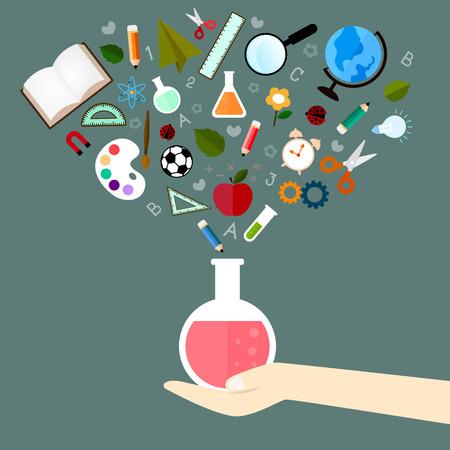 estudiando: Iconos del vector de estudio en el concepto sobre el aprendizaje debe ser experimentos para mejorar y desarrollado para optimizado para los alumnos