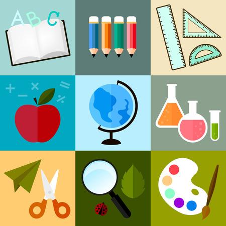 Vecteur, icône de l'école ou de l'apprentissage dans la conception coloré mignon sur fond de modèle Banque d'images - 40565310