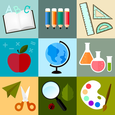 vector icon about school or learning in cute design on colorful pattern background