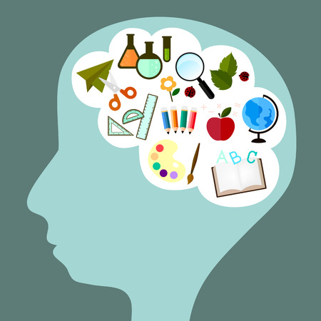 calculating: vector icon in cute design about school and study in pattern of kid brain