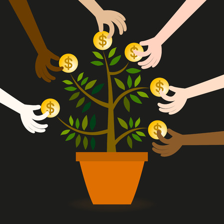 rapacious: Vector of many hands show scramble benefits from limited resources. Illustration