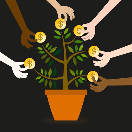 Vector van vele handen te tonen scramble profiteert van beperkte middelen. Stock Illustratie