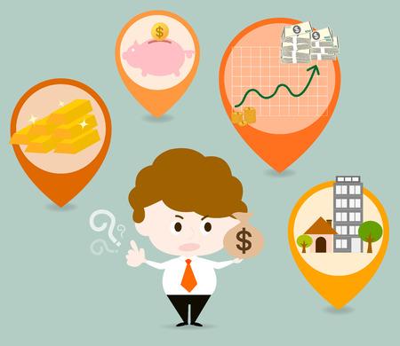 Er zijn vele soorten investeringen, zoals goud, onroerend goed, aandelen of spaarbanken. Moeten zorgvuldig beslissen alvorens te investeren. Stockfoto - 40565319