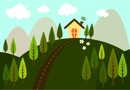 small house: Vector of small house in the middle of a pine forest on the hills have a road and mountains behind. The environment are refreshing and clean.