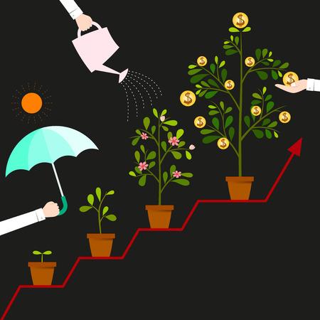 時保護し、世話をするあなたの資金。それは育つし、高さがあなたのビジネスの利益になります。  イラスト・ベクター素材