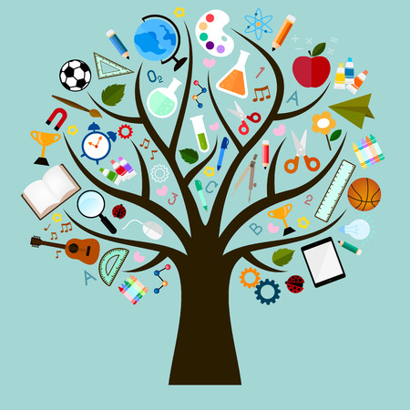 lapiz y papel: Iconos del vector de estudio son muchas ramas como árbol Vectores