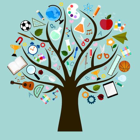 tužka: Vektorové ikony studia mnoho větví jako strom