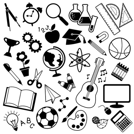 icon vector of education subject in black and white can use for website or info graphic Ilustração