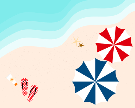 seacoast: colorful vector of umbrella, slippers and sunscreen on the beach in summer holiday from top view